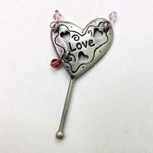 Love Pewter Silver Bookmark Pink Crystals Heart